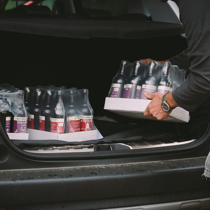 Weetwood Ales being loaded into a car for contactless collection