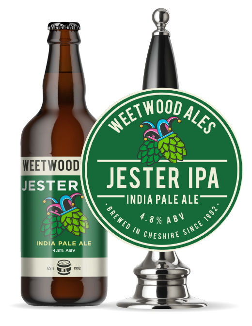 Weetwood Ales Jester IPI Indian Pale Ale bottle and pump