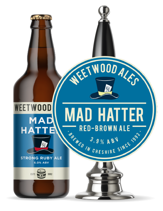 Weetwood Ales Mad Hatter Strong Ruby Ale bottle and pump