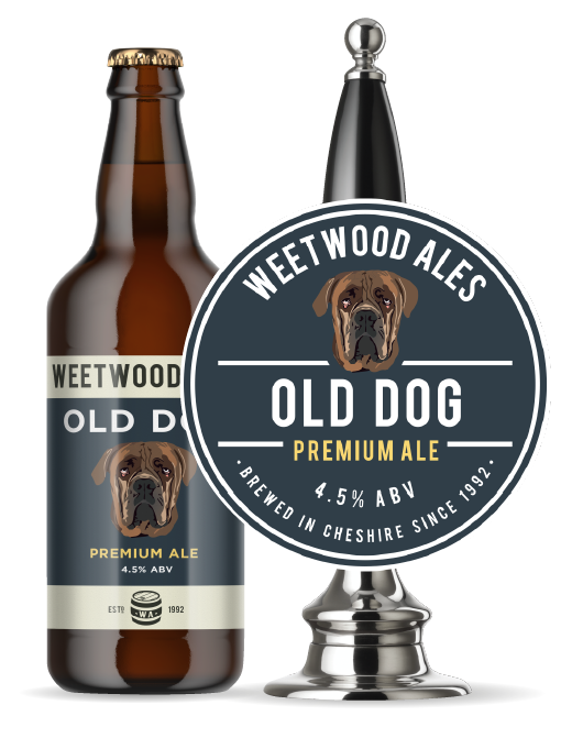 Weetwood Ales Old Dog Premium Ale bottle and pump