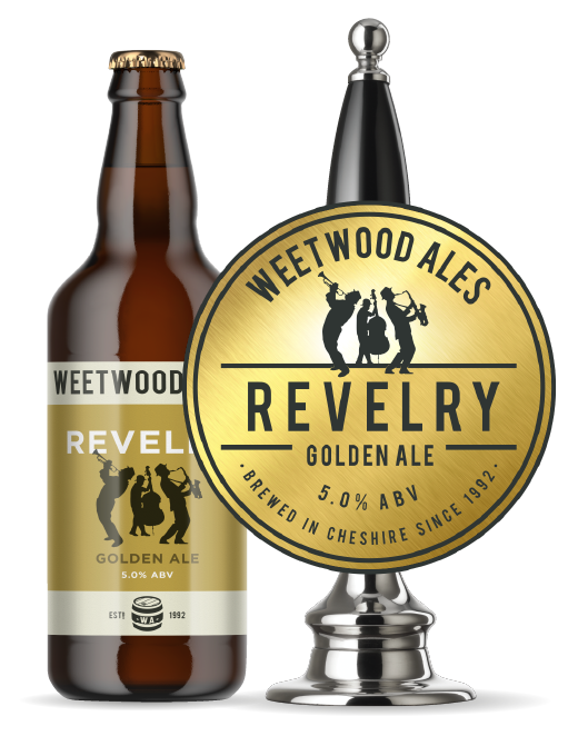 Weetwood Ales Revelry Golden Ale bottle and pump