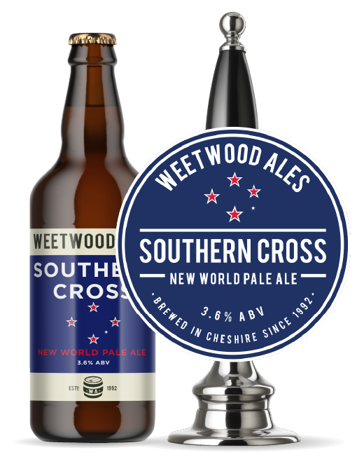 Weetwood Ales Southern Cross New World Pale Ale bottle and Pump